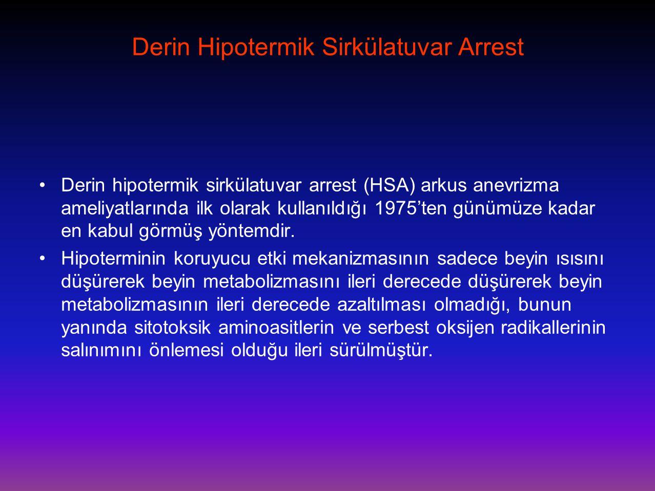 Derin Hipotermik Sirkülatuvar Arrest •Derin hipotermik sirkülatuvar arrest (HSA) arkus anevrizma ameliyatlarında ilk olarak kullanıldığı 1975'ten günü