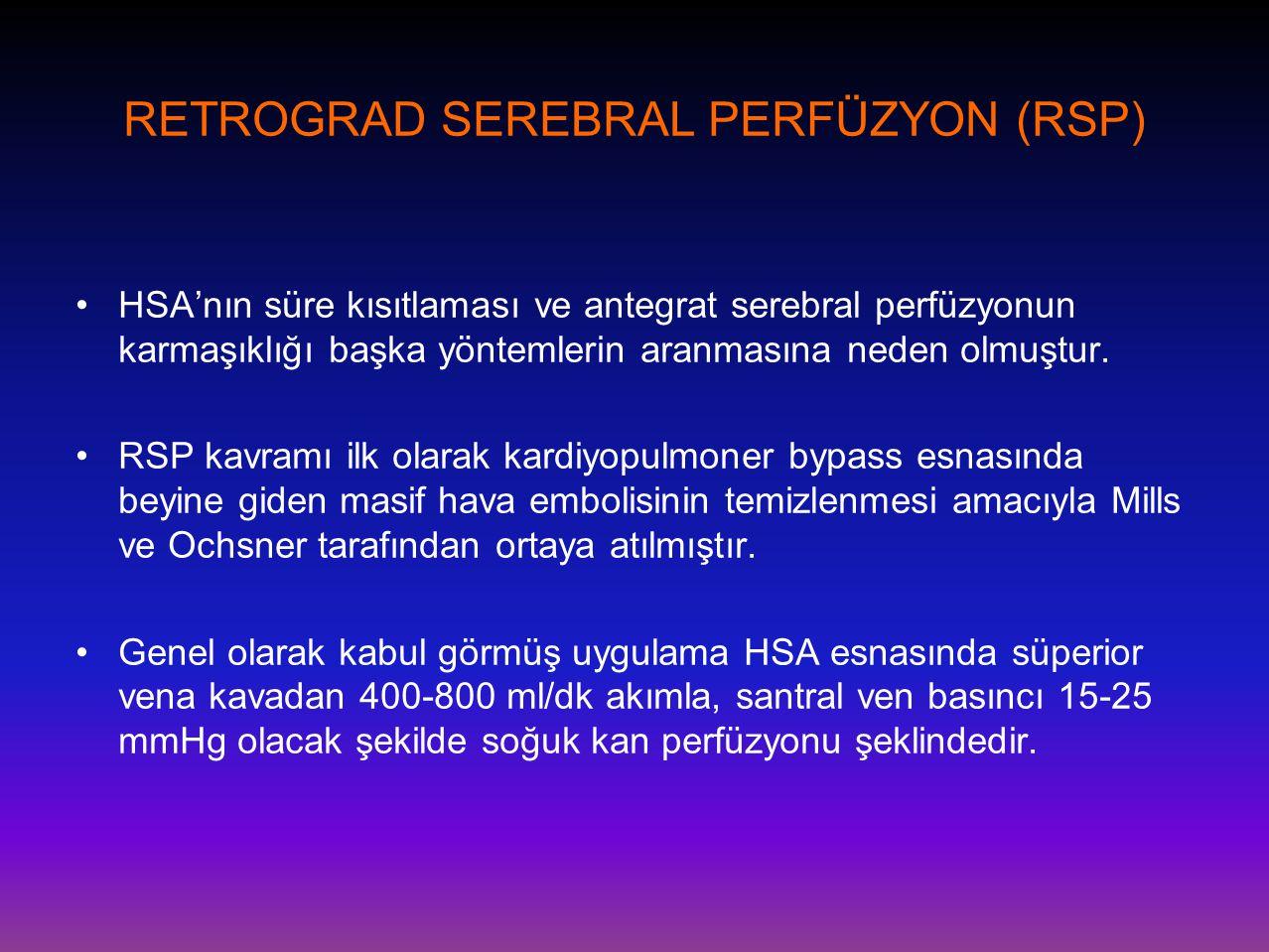 RETROGRAD SEREBRAL PERFÜZYON (RSP) •HSA'nın süre kısıtlaması ve antegrat serebral perfüzyonun karmaşıklığı başka yöntemlerin aranmasına neden olmuştur