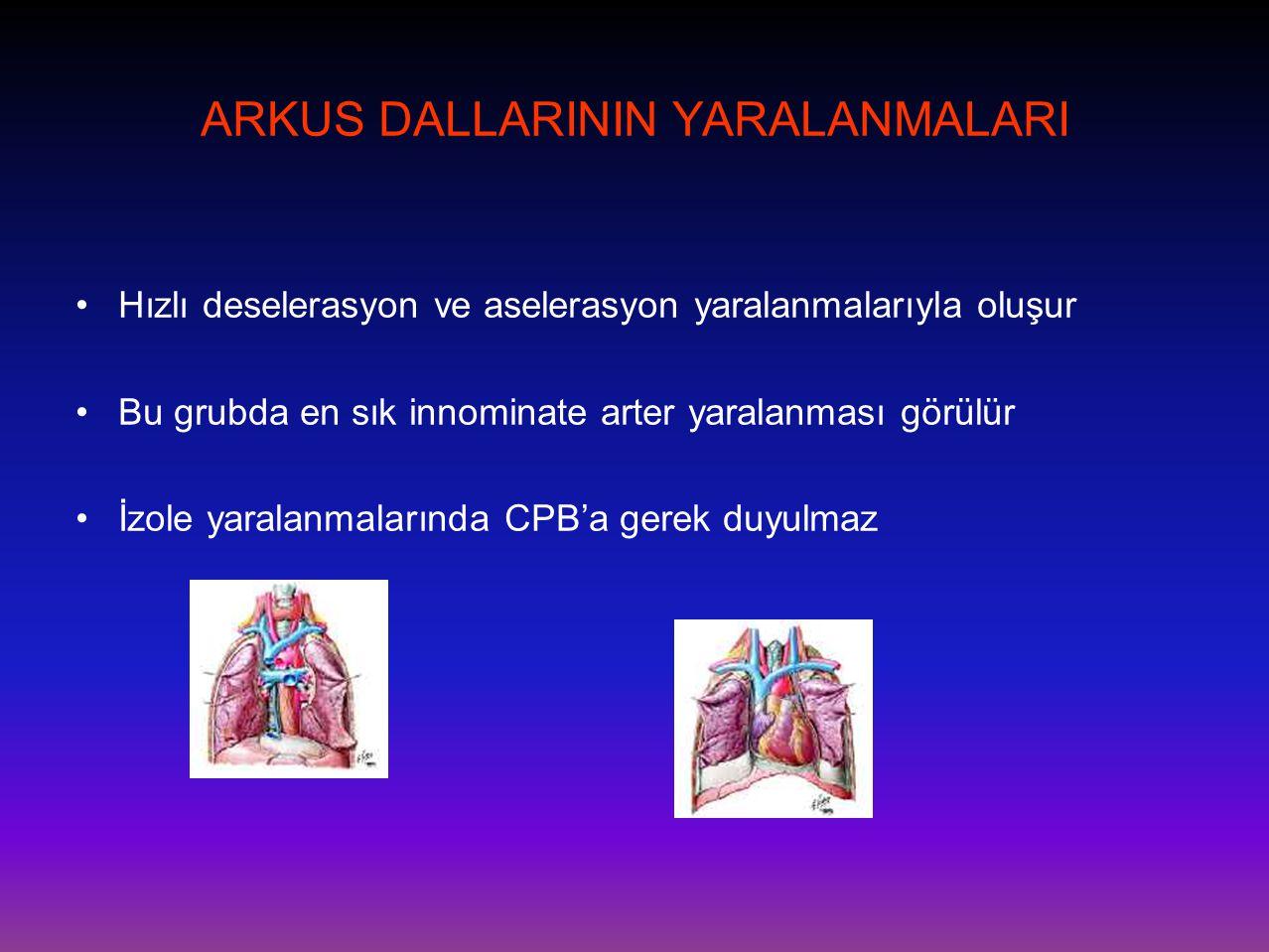 ARKUS DALLARININ YARALANMALARI •Hızlı deselerasyon ve aselerasyon yaralanmalarıyla oluşur •Bu grubda en sık innominate arter yaralanması görülür •İzol