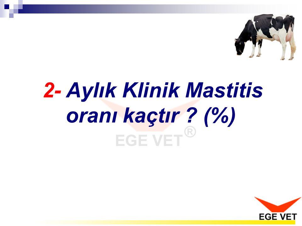 Aylık klinik mastitis oranı % 2'yi geçmemelidir.