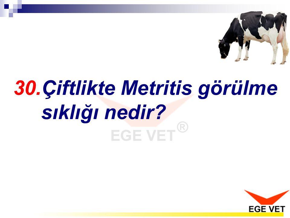30.Çiftlikte Metritis görülme sıklığı nedir?