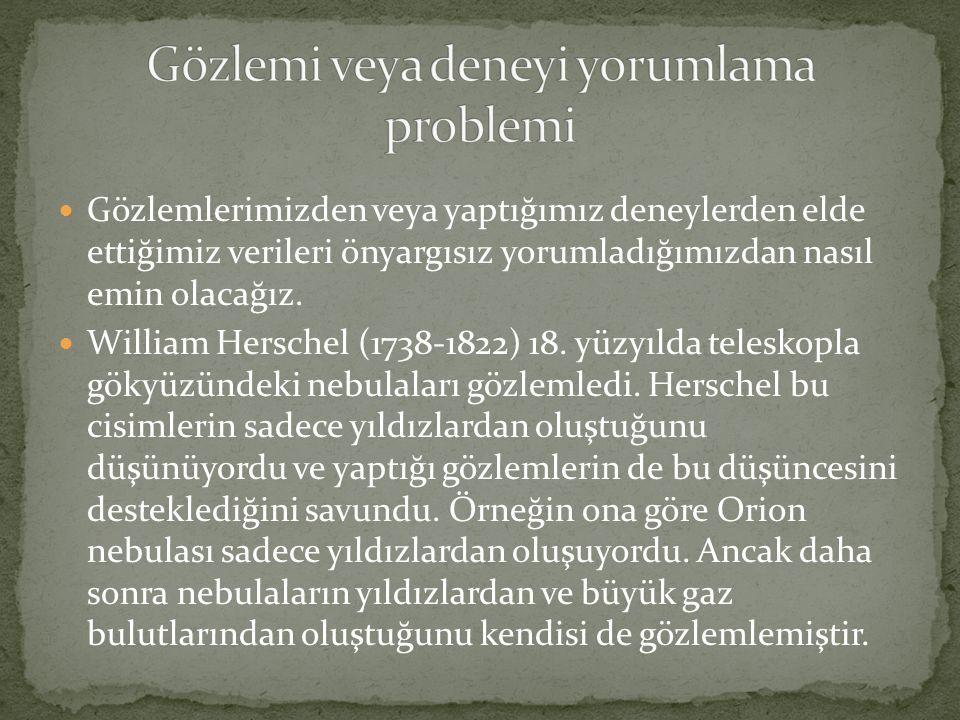  Gözlemlerimizden veya yaptığımız deneylerden elde ettiğimiz verileri önyargısız yorumladığımızdan nasıl emin olacağız.  William Herschel (1738-1822
