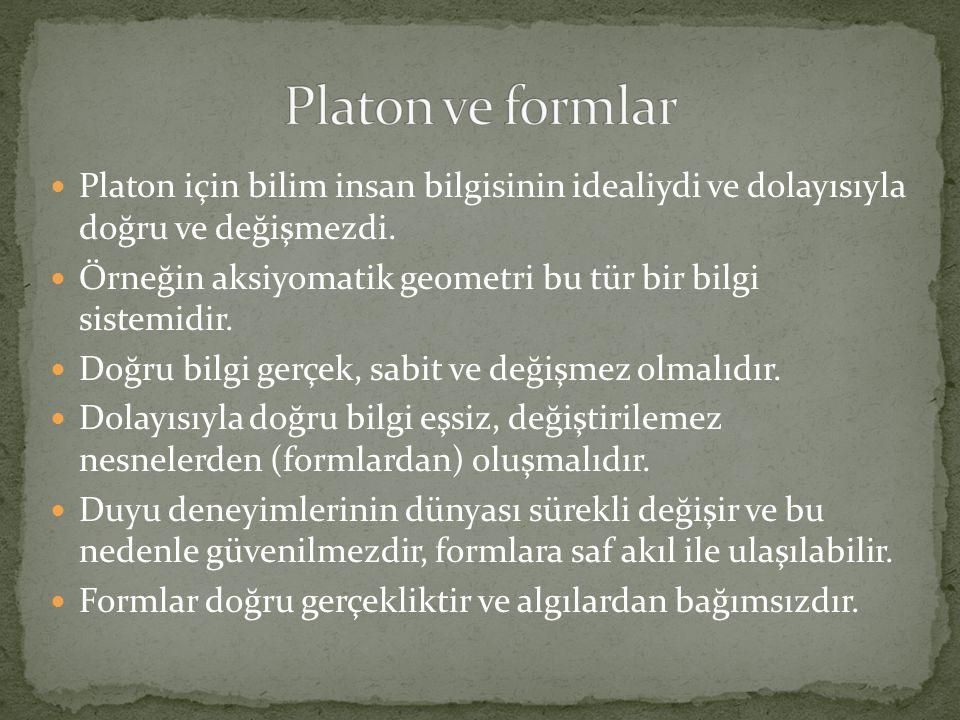  Platon için bilim insan bilgisinin idealiydi ve dolayısıyla doğru ve değişmezdi.  Örneğin aksiyomatik geometri bu tür bir bilgi sistemidir.  Doğru