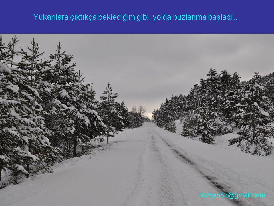Yukarılara çıktıkça beklediğim gibi, yolda buzlanma başladı… fozhan53@gmail.com