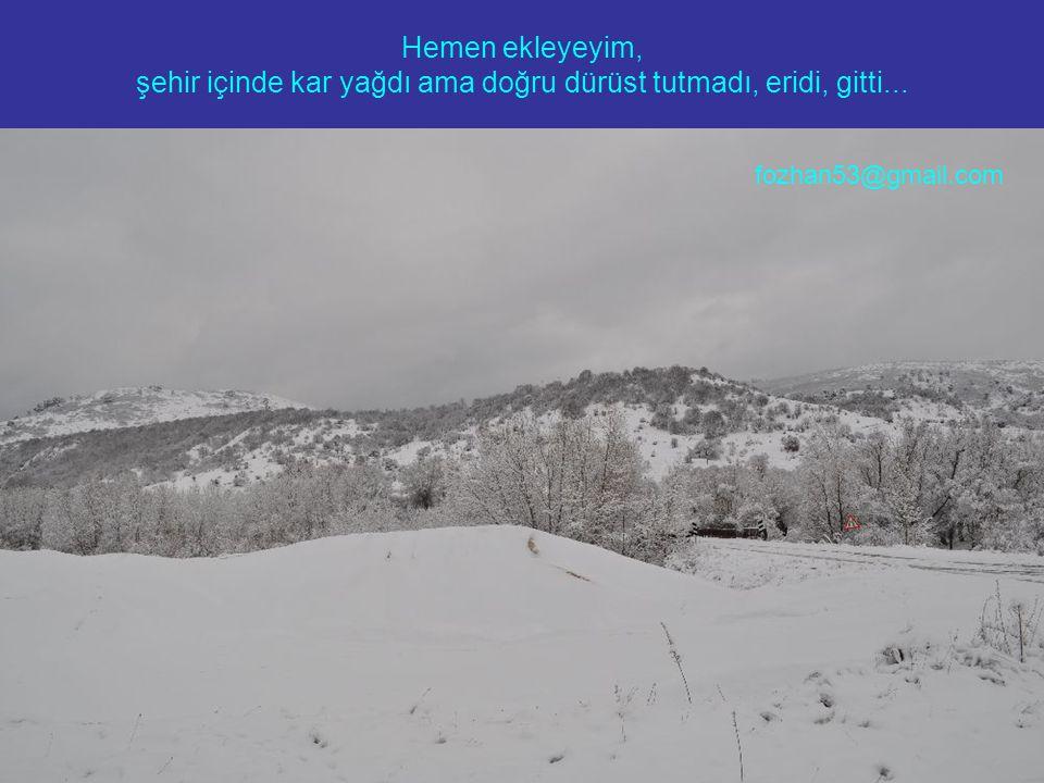 Hemen ekleyeyim, şehir içinde kar yağdı ama doğru dürüst tutmadı, eridi, gitti... fozhan53@gmail.com