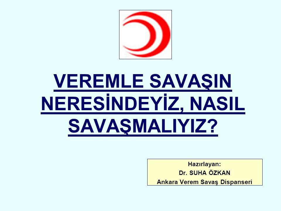 VEREMLE SAVAŞIN NERESİNDEYİZ, NASIL SAVAŞMALIYIZ? Hazırlayan: Dr. SUHA ÖZKAN Ankara Verem Savaş Dispanseri