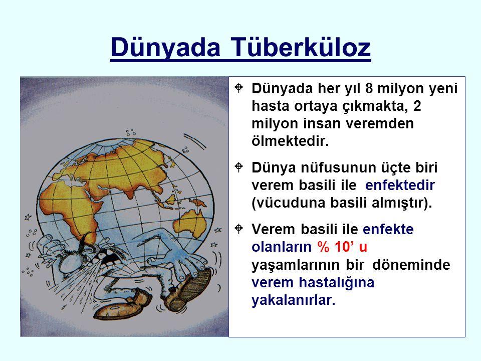 Dünyada Tüberküloz WDünyada her yıl 8 milyon yeni hasta ortaya çıkmakta, 2 milyon insan veremden ölmektedir. WDünya nüfusunun üçte biri verem basili i