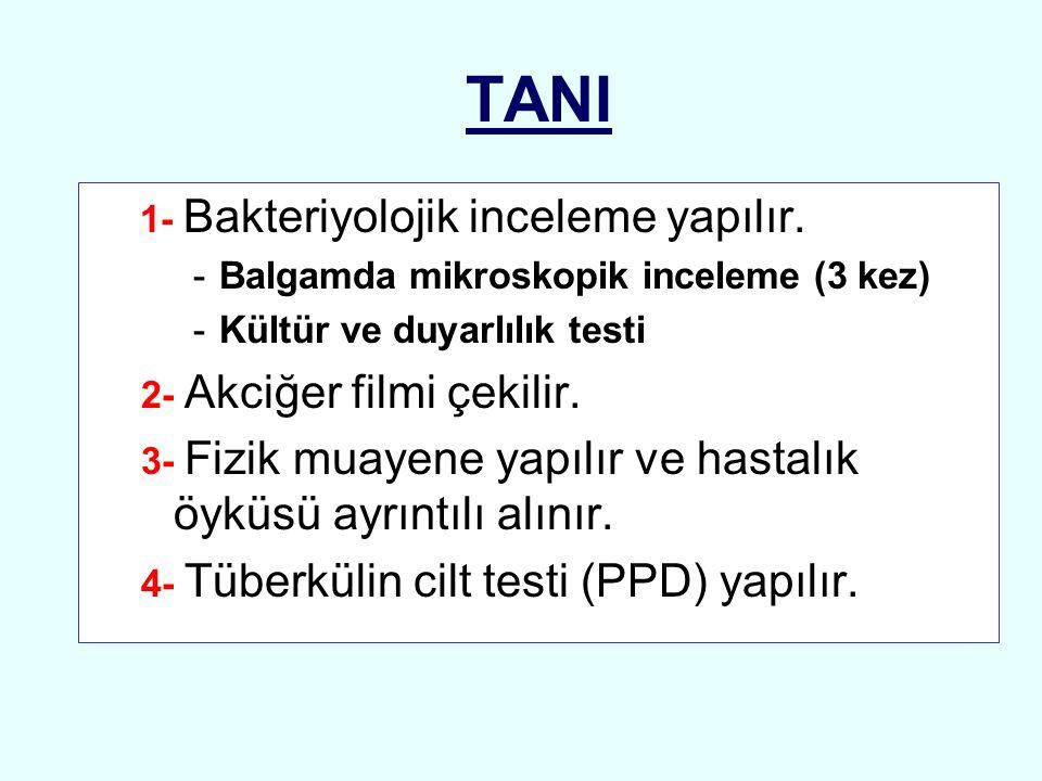 TANI 1- Bakteriyolojik inceleme yapılır. -Balgamda mikroskopik inceleme (3 kez) -Kültür ve duyarlılık testi 2- Akciğer filmi çekilir. 3- Fizik muayene