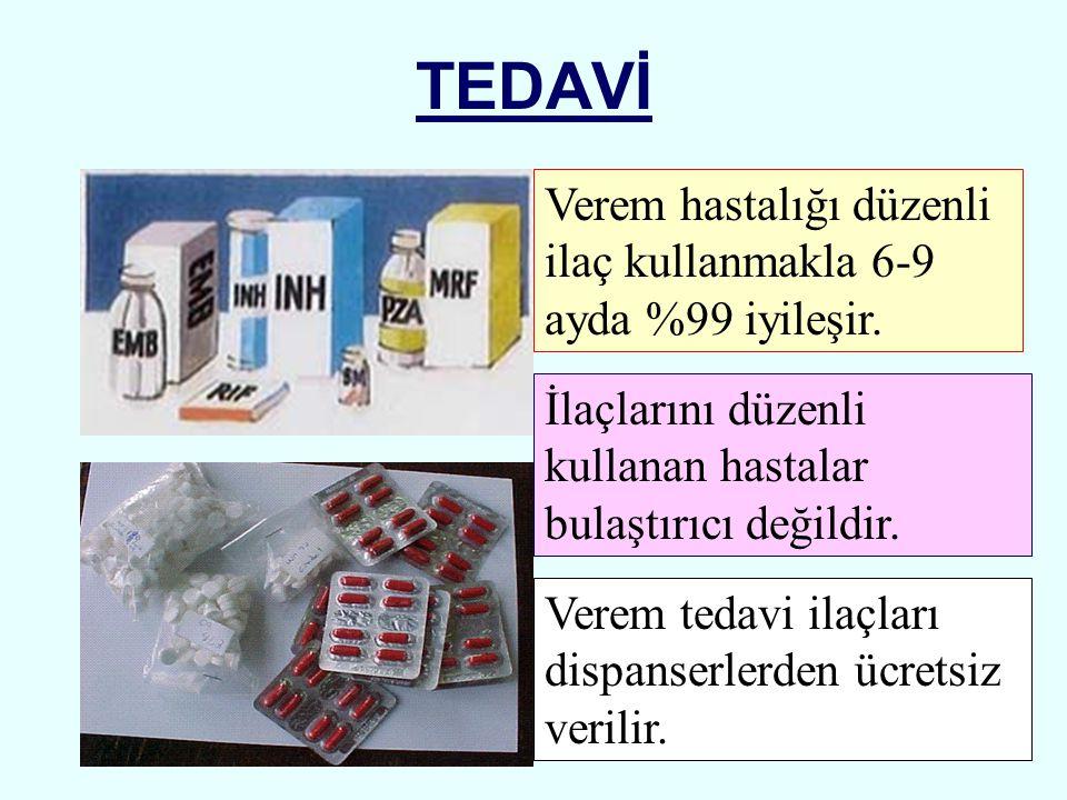 TEDAVİ İlaçlarını düzenli kullanan hastalar bulaştırıcı değildir. Verem tedavi ilaçları dispanserlerden ücretsiz verilir. Verem hastalığı düzenli ilaç