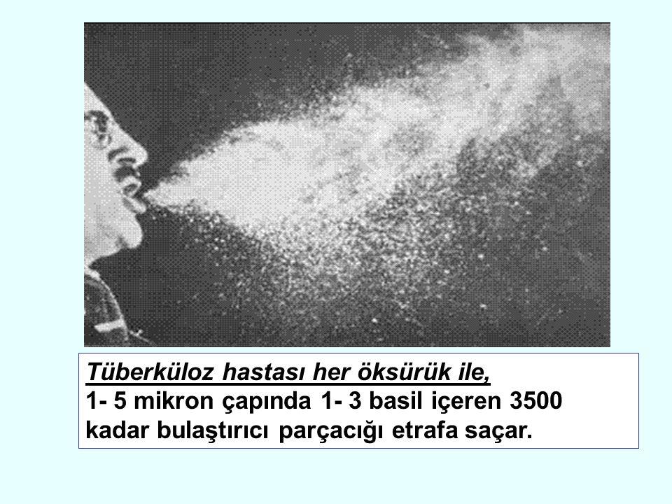 Tüberküloz hastası her öksürük ile, 1- 5 mikron çapında 1- 3 basil içeren 3500 kadar bulaştırıcı parçacığı etrafa saçar.