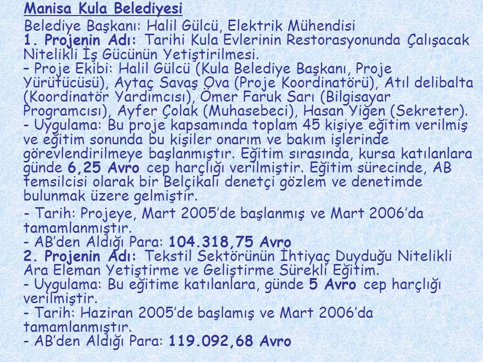 Manisa Kula Belediyesi Belediye Başkanı: Halil Gülcü, Elektrik Mühendisi 1. Projenin Adı: Tarihi Kula Evlerinin Restorasyonunda Çalışacak Nitelikli İş