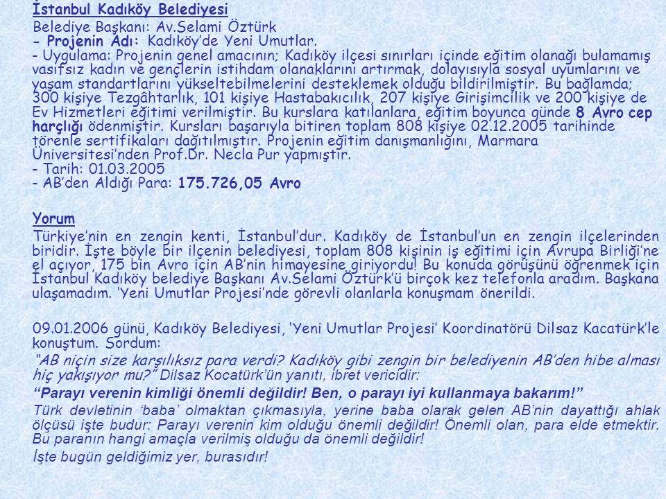 İstanbul Kadıköy Belediyesi Belediye Başkanı: Av.Selami Öztürk - Projenin Adı: Kadıköy'de Yeni Umutlar. - Uygulama: Projenin genel amacının; Kadıköy i