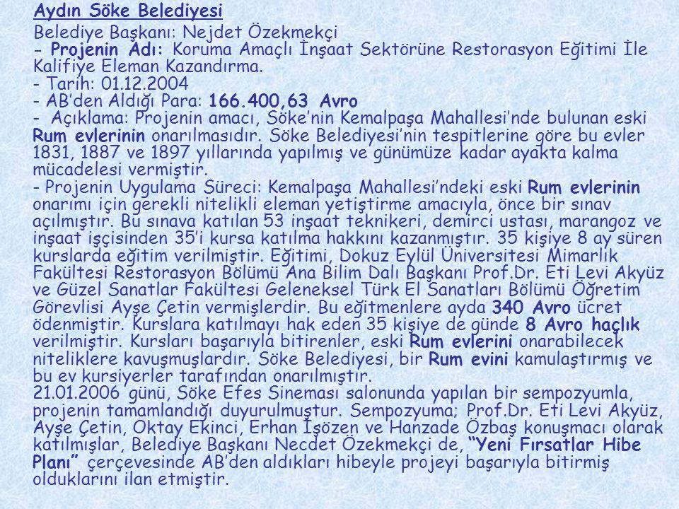 Aydın Söke Belediyesi Belediye Başkanı: Nejdet Özekmekçi - Projenin Adı: Koruma Amaçlı İnşaat Sektörüne Restorasyon Eğitimi İle Kalifiye Eleman Kazand
