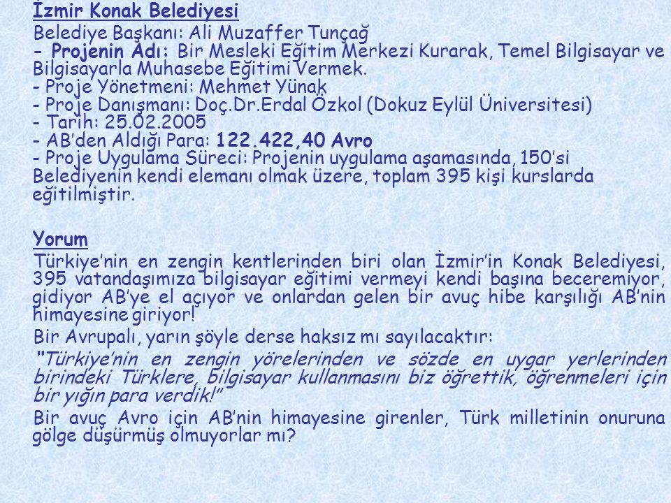 İzmir Konak Belediyesi Belediye Başkanı: Ali Muzaffer Tunçağ - Projenin Adı: Bir Mesleki Eğitim Merkezi Kurarak, Temel Bilgisayar ve Bilgisayarla Muha