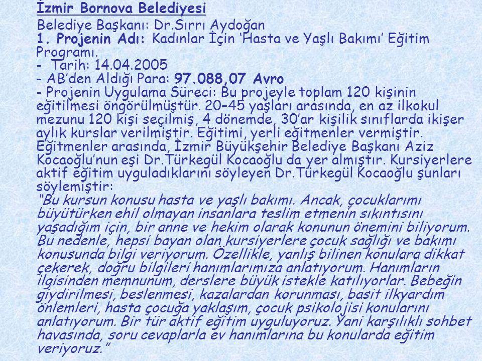 İzmir Bornova Belediyesi Belediye Başkanı: Dr.Sırrı Aydoğan 1. Projenin Adı: Kadınlar İçin 'Hasta ve Yaşlı Bakımı' Eğitim Programı. - Tarih: 14.04.200