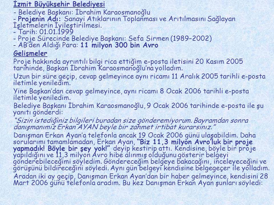 İzmir Bornova Belediyesi Belediye Başkanı: Dr.Sırrı Aydoğan 1.