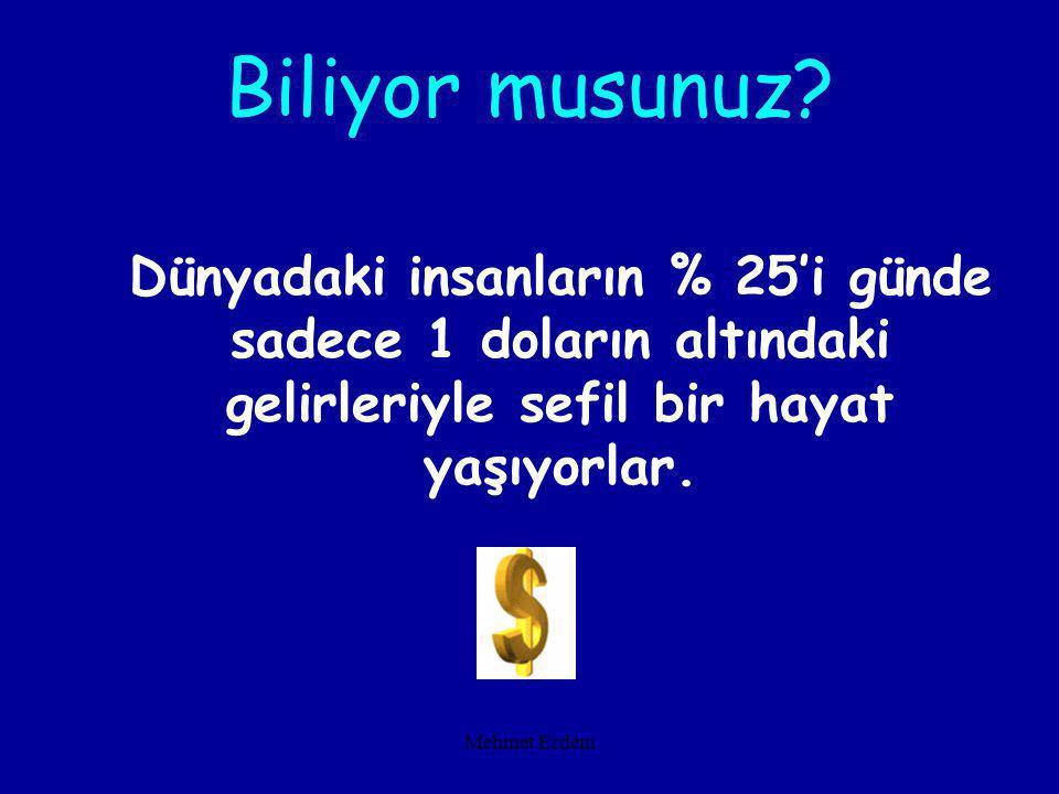 Mehmet Erdem Dünyadaki insanların % 25'i günde sadece 1 doların altındaki gelirleriyle sefil bir hayat yaşıyorlar.