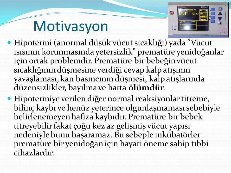 Motivasyon  Hipotermi (anormal düşük vücut sıcaklığı) yada Vücut ısısının korunmasında yetersizlik prematüre yenidoğanlar için ortak problemdir.
