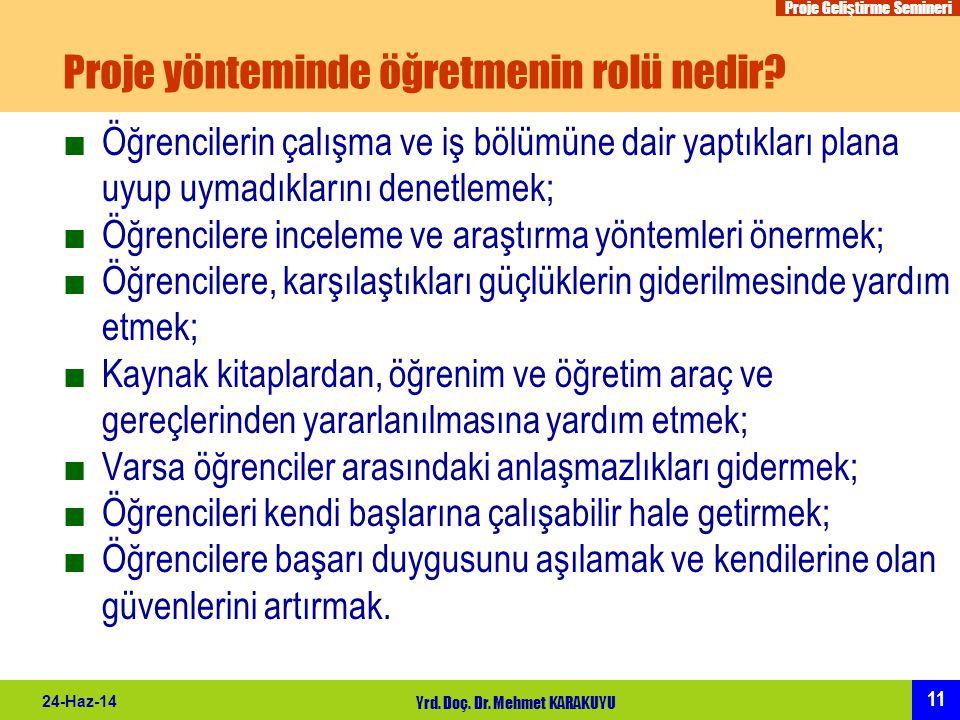 Proje Geliştirme Semineri 11 24-Haz-14 Yrd. Doç. Dr. Mehmet KARAKUYU Proje yönteminde öğretmenin rolü nedir? ■Öğrencilerin çalışma ve iş bölümüne dair