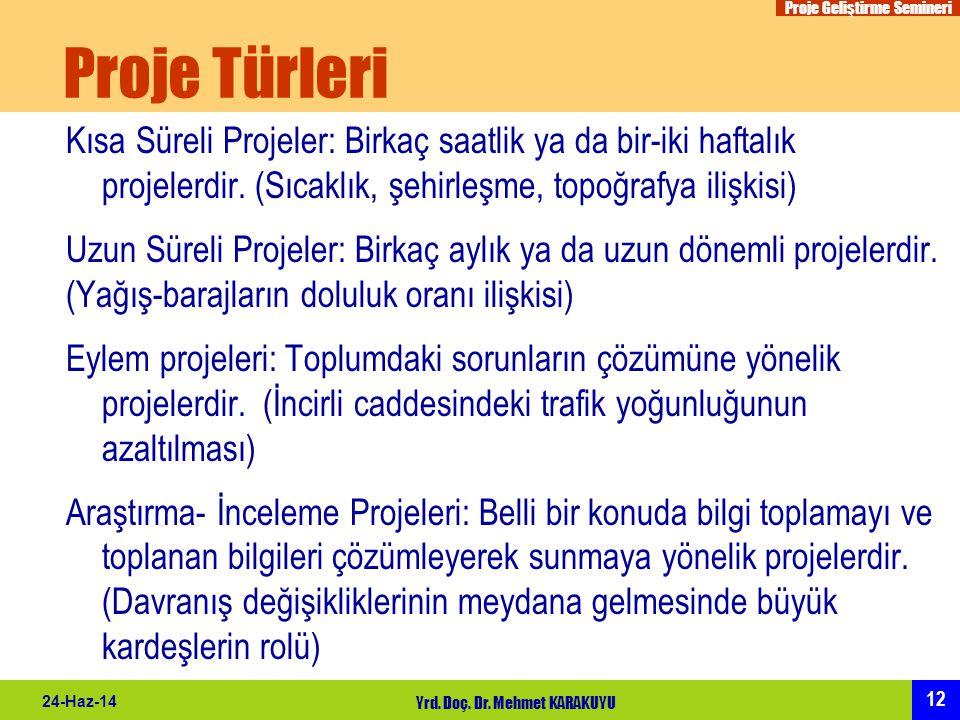 Proje Geliştirme Semineri 12 24-Haz-14 Yrd. Doç. Dr. Mehmet KARAKUYU Proje Türleri Kısa Süreli Projeler: Birkaç saatlik ya da bir-iki haftalık projele