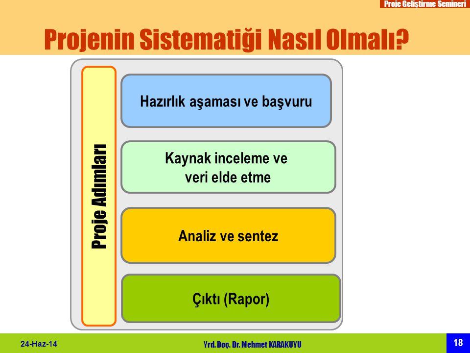 Proje Geliştirme Semineri 18 24-Haz-14 Yrd. Doç. Dr. Mehmet KARAKUYU Projenin Sistematiği Nasıl Olmalı? Proje Adımları Hazırlık aşaması ve başvuru Kay