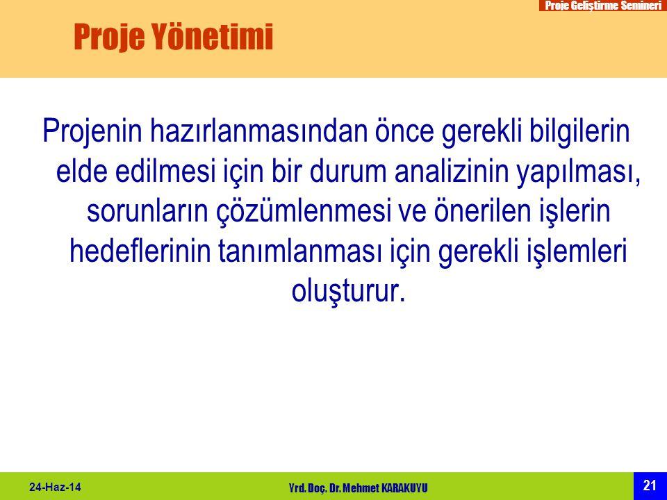 Proje Geliştirme Semineri 21 24-Haz-14 Yrd. Doç. Dr. Mehmet KARAKUYU Proje Yönetimi Projenin hazırlanmasından önce gerekli bilgilerin elde edilmesi iç