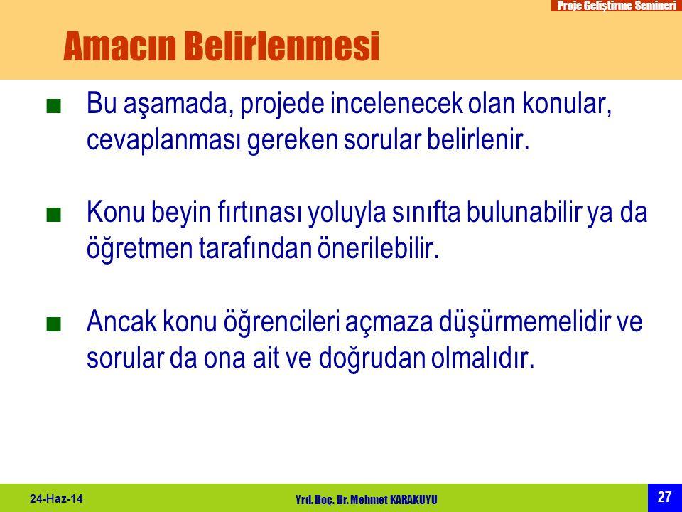 Proje Geliştirme Semineri 27 24-Haz-14 Yrd. Doç. Dr. Mehmet KARAKUYU Amacın Belirlenmesi ■Bu aşamada, projede incelenecek olan konular, cevaplanması g