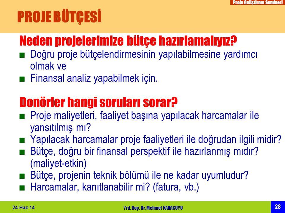 Proje Geliştirme Semineri 28 24-Haz-14 Yrd. Doç. Dr. Mehmet KARAKUYU PROJE BÜTÇESİ Neden projelerimize bütçe hazırlamalıyız? ■Doğru proje bütçelendirm
