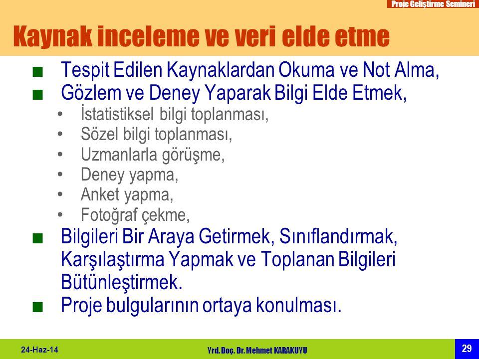 Proje Geliştirme Semineri 29 24-Haz-14 Yrd. Doç. Dr. Mehmet KARAKUYU Kaynak inceleme ve veri elde etme ■Tespit Edilen Kaynaklardan Okuma ve Not Alma,