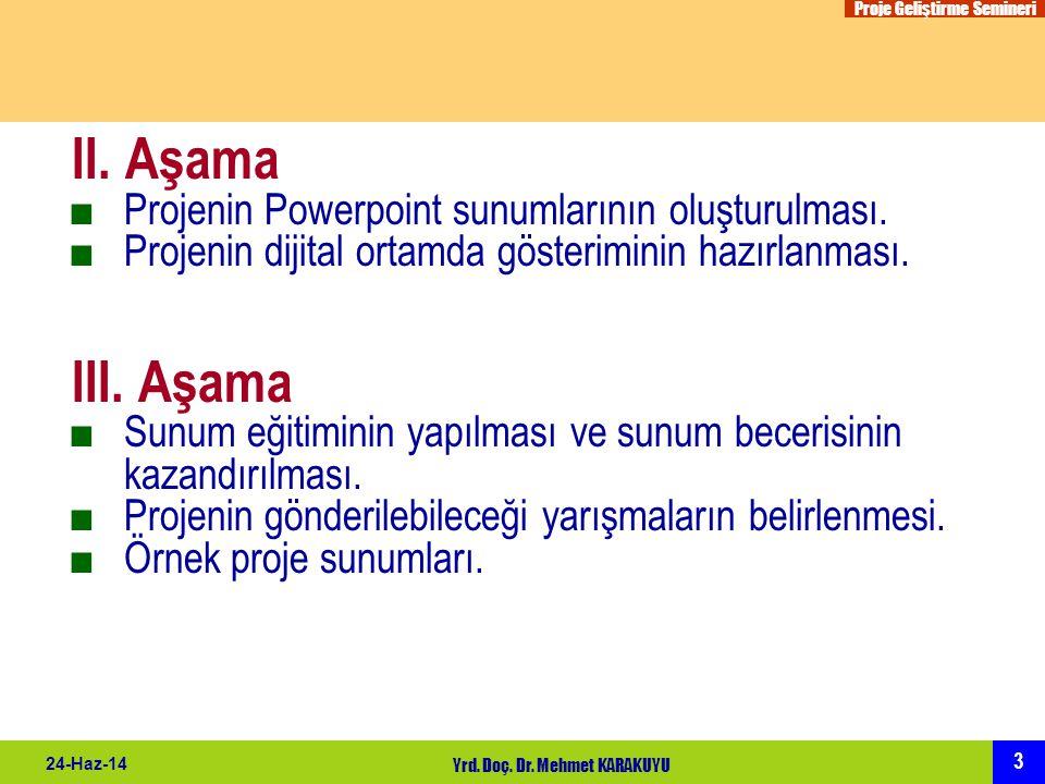 Proje Geliştirme Semineri 3 24-Haz-14 Yrd. Doç. Dr. Mehmet KARAKUYU II. Aşama ■Projenin Powerpoint sunumlarının oluşturulması. ■Projenin dijital ortam
