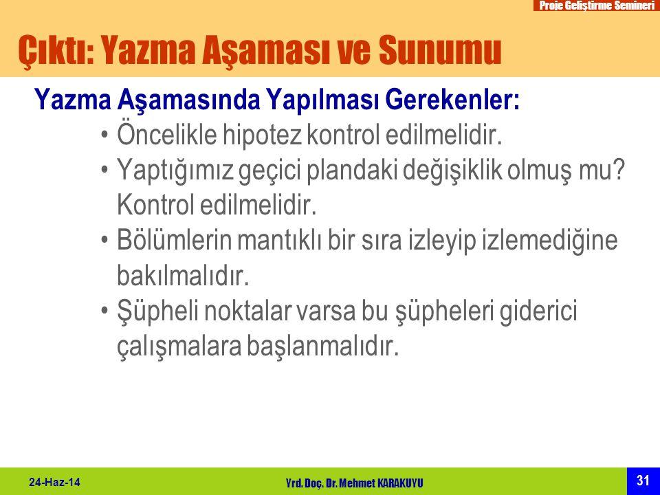 Proje Geliştirme Semineri 31 24-Haz-14 Yrd. Doç. Dr. Mehmet KARAKUYU Çıktı: Yazma Aşaması ve Sunumu Yazma Aşamasında Yapılması Gerekenler: •Öncelikle
