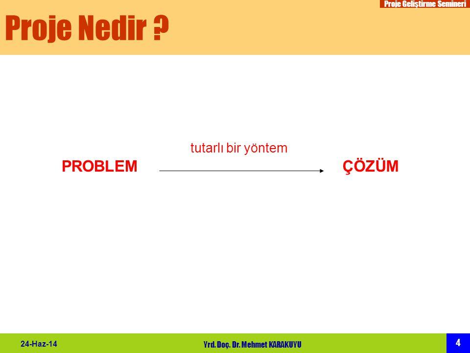 Proje Geliştirme Semineri 4 24-Haz-14 Yrd. Doç. Dr. Mehmet KARAKUYU Proje Nedir ? PROBLEMÇÖZÜM tutarlı bir yöntem