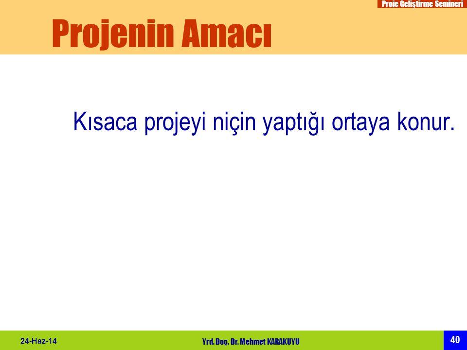 Proje Geliştirme Semineri 40 24-Haz-14 Yrd. Doç. Dr. Mehmet KARAKUYU Projenin Amacı Kısaca projeyi niçin yaptığı ortaya konur.