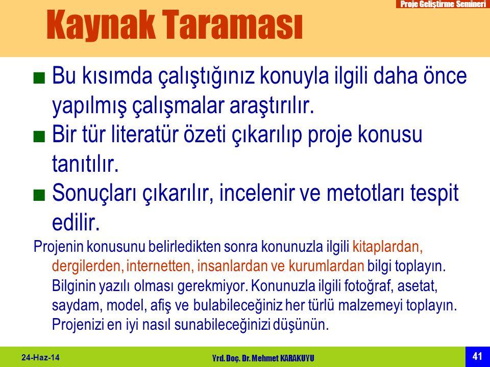 Proje Geliştirme Semineri 41 24-Haz-14 Yrd. Doç. Dr. Mehmet KARAKUYU Kaynak Taraması ■Bu kısımda çalıştığınız konuyla ilgili daha önce yapılmış çalışm
