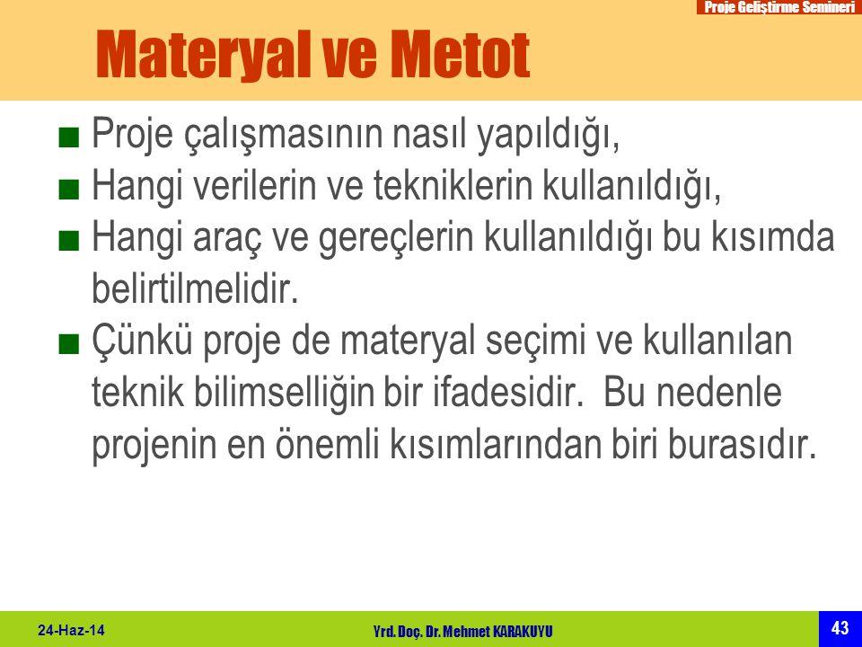 Proje Geliştirme Semineri 43 24-Haz-14 Yrd. Doç. Dr. Mehmet KARAKUYU Materyal ve Metot ■Proje çalışmasının nasıl yapıldığı, ■Hangi verilerin ve teknik