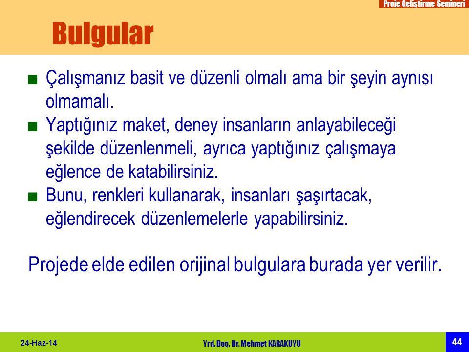 Proje Geliştirme Semineri 44 24-Haz-14 Yrd. Doç. Dr. Mehmet KARAKUYU Bulgular ■Çalışmanız basit ve düzenli olmalı ama bir şeyin aynısı olmamalı. ■Yapt