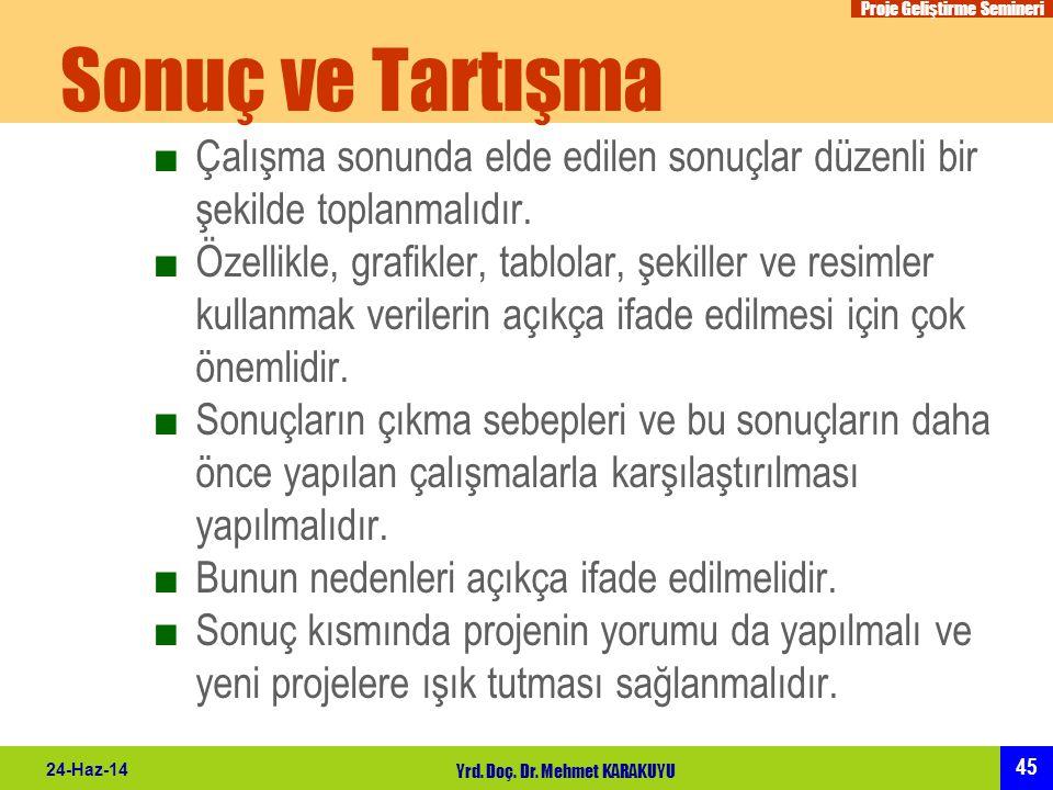 Proje Geliştirme Semineri 45 24-Haz-14 Yrd. Doç. Dr. Mehmet KARAKUYU Sonuç ve Tartışma ■Çalışma sonunda elde edilen sonuçlar düzenli bir şekilde topla