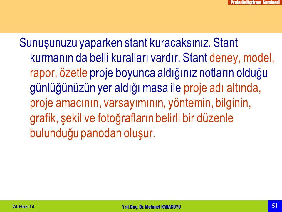 Proje Geliştirme Semineri 51 24-Haz-14 Yrd. Doç. Dr. Mehmet KARAKUYU Sunuşunuzu yaparken stant kuracaksınız. Stant kurmanın da belli kuralları vardır.