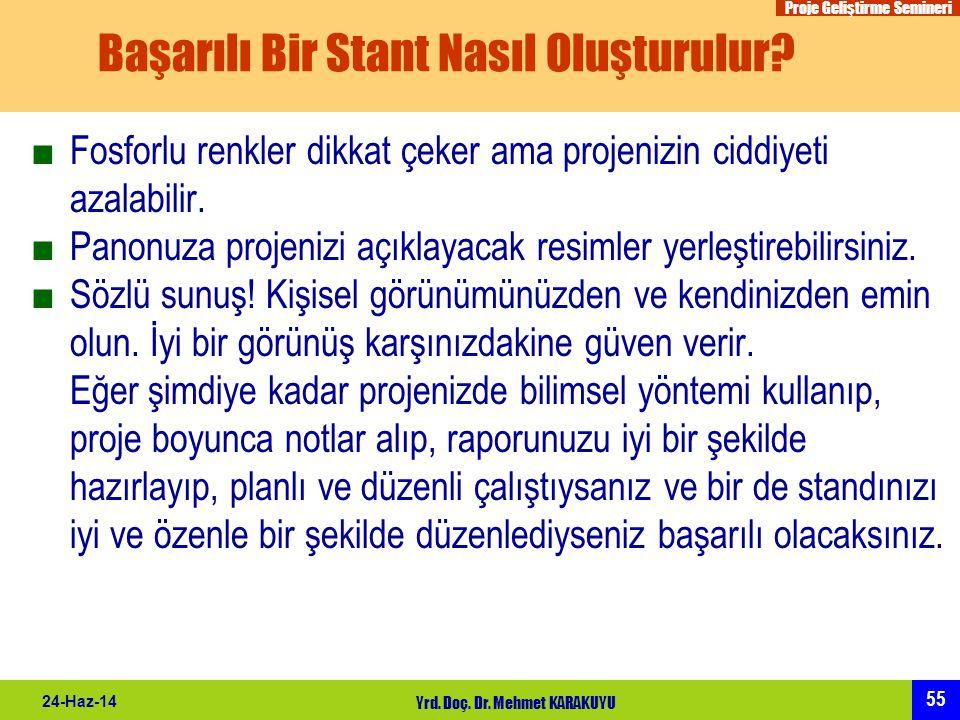 Proje Geliştirme Semineri 55 24-Haz-14 Yrd. Doç. Dr. Mehmet KARAKUYU Başarılı Bir Stant Nasıl Oluşturulur? ■Fosforlu renkler dikkat çeker ama projeniz