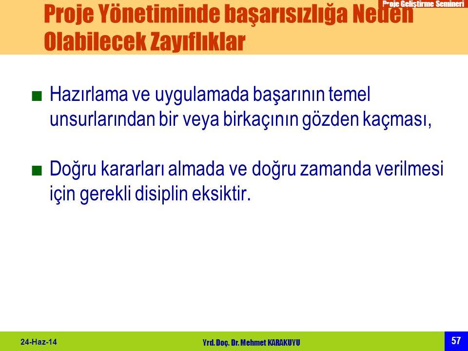 Proje Geliştirme Semineri 57 24-Haz-14 Yrd. Doç. Dr. Mehmet KARAKUYU Proje Yönetiminde başarısızlığa Neden Olabilecek Zayıflıklar ■Hazırlama ve uygula