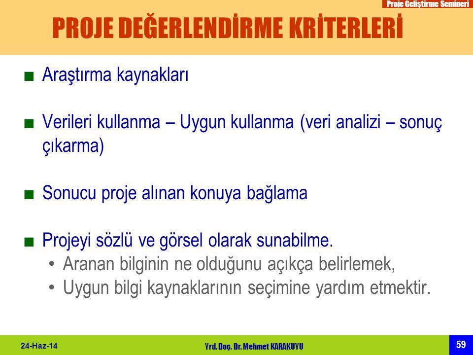 Proje Geliştirme Semineri 59 24-Haz-14 Yrd. Doç. Dr. Mehmet KARAKUYU PROJE DEĞERLENDİRME KRİTERLERİ ■Araştırma kaynakları ■Verileri kullanma – Uygun k