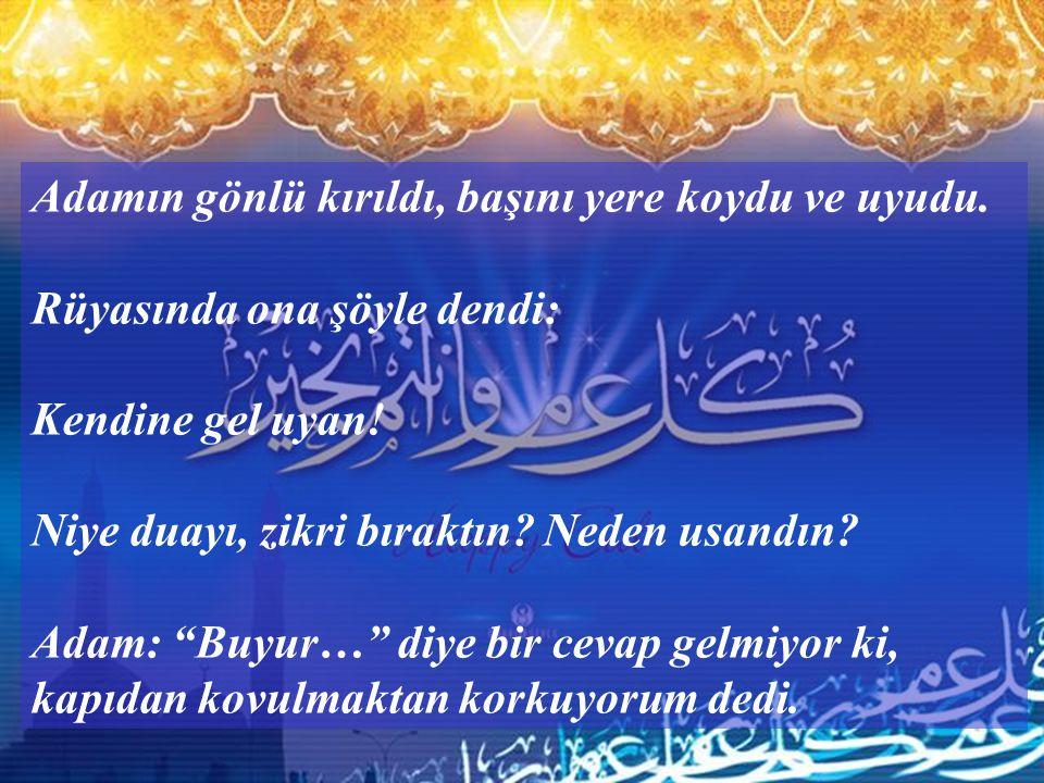 Ey Allah'ı çok anan kişi ! Bütün gece Allah deyip çağırmana karşılık seni buyur eden var mı? Sana bir tek cevap bile gelmiyor, daha ne zamana kadar du
