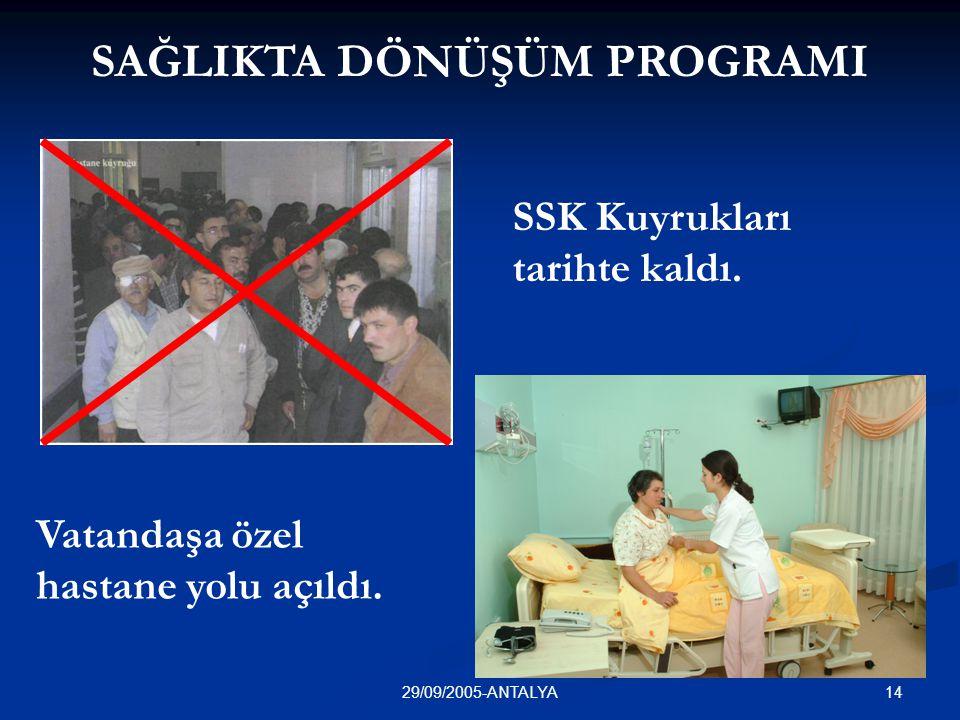 1429/09/2005-ANTALYA SSK Kuyrukları tarihte kaldı. Vatandaşa özel hastane yolu açıldı. SAĞLIKTA DÖNÜŞÜM PROGRAMI