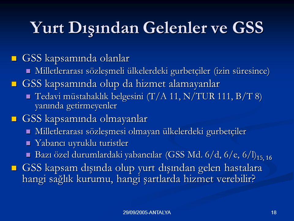1829/09/2005-ANTALYA Yurt Dışından Gelenler ve GSS  GSS kapsamında olanlar  Milletlerarası sözleşmeli ülkelerdeki gurbetçiler (izin süresince)  GSS