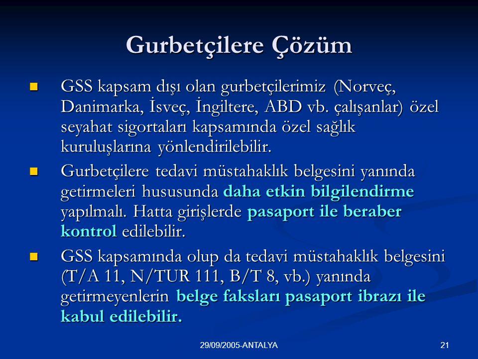 2129/09/2005-ANTALYA Gurbetçilere Çözüm  GSS kapsam dışı olan gurbetçilerimiz (Norveç, Danimarka, İsveç, İngiltere, ABD vb. çalışanlar) özel seyahat