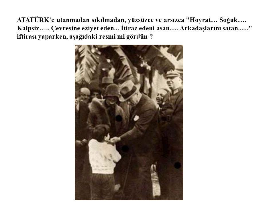 ATATÜRK ÜN İDAM FERMANI'NIN Türkçe karşılığı Dosya Tasnifi Harbiye-Divan-ı Harp DOSYA No : 70 Harbiye Nezareti Adliye-i Askeriye Dairesi Şube : Adet : 705 PADİŞAH BUYRUĞU Mehmet Vahidüddin (ONAY) Kuvayı Milliye adı altında çıkardıkları ahlaksızlık ve fesatla, anayasaya aykırı olarak halktan zorla para toplamak, asker almak, bunun aksine hareket edenlere işkence ve eziyet ederek şehirleri yakıp yıkmaya kalkışmak suretiyle iç güvenliği bozanların tertipçisi oldukları iddiasıyla haklarında dava açılan, Üçüncü Ordu Müfettişliğinden alınarak askerlik mesleğinden çıkartılmış bulunan Selanikli Mustafa Kemal Efendi, Eski yirmi yedinci fırka kumandanı miralaylıktan emekli İstanbullu Kara Vasıf Bey, Eski yirminci kolordu kumandanı Mirliva Salacaklı Fuat Paşa ile Eski Vaşington elçisi ve Ankara milletvekili Midillili Alfred Rüstem ve sıhhiye eski müdürü İstanbullu Doktor Adnan Bey ile Batı Edebiyatı eski öğretmeni Halide Edip Hanımın, ayrıntıları 11 Mayıs 1336 (1920) tarihli ve 20 numaralı karar tutanağında yazılı olduğu üzre, Mülkiye Ceza Kanunu nun kırk beşinci maddesinin birinci fıkrası delaletiyle elli beşinci maddesinin dördüncü fıkrası ve elli altıncı maddesi uyarınca, sahip oldukları askeri ve mülki rütbe ve nişanlarla, her türlü resmi ünvanlarının kaldırılmasına ve idamlarına, halen firarda bulunmaları dolayısıyla kanun hükümleri gereğince mallarının haczedilerek, usulüne göre idare ettirilmesine dair İstanbul bir numaralı sıkıyönetim mahkemesi tarafından gıyaben verilen hüküm ve karar, ele geçirildiklerinde tekrar yargılanmak üzere tasdik edilmiştir.