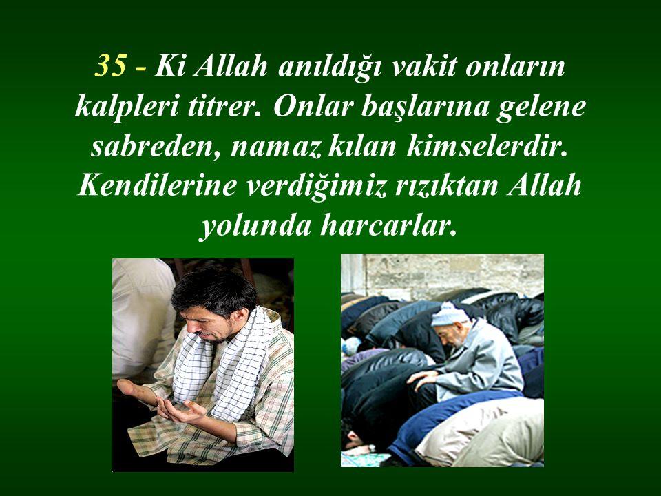 35 - Ki Allah anıldığı vakit onların kalpleri titrer. Onlar başlarına gelene sabreden, namaz kılan kimselerdir. Kendilerine verdiğimiz rızıktan Allah