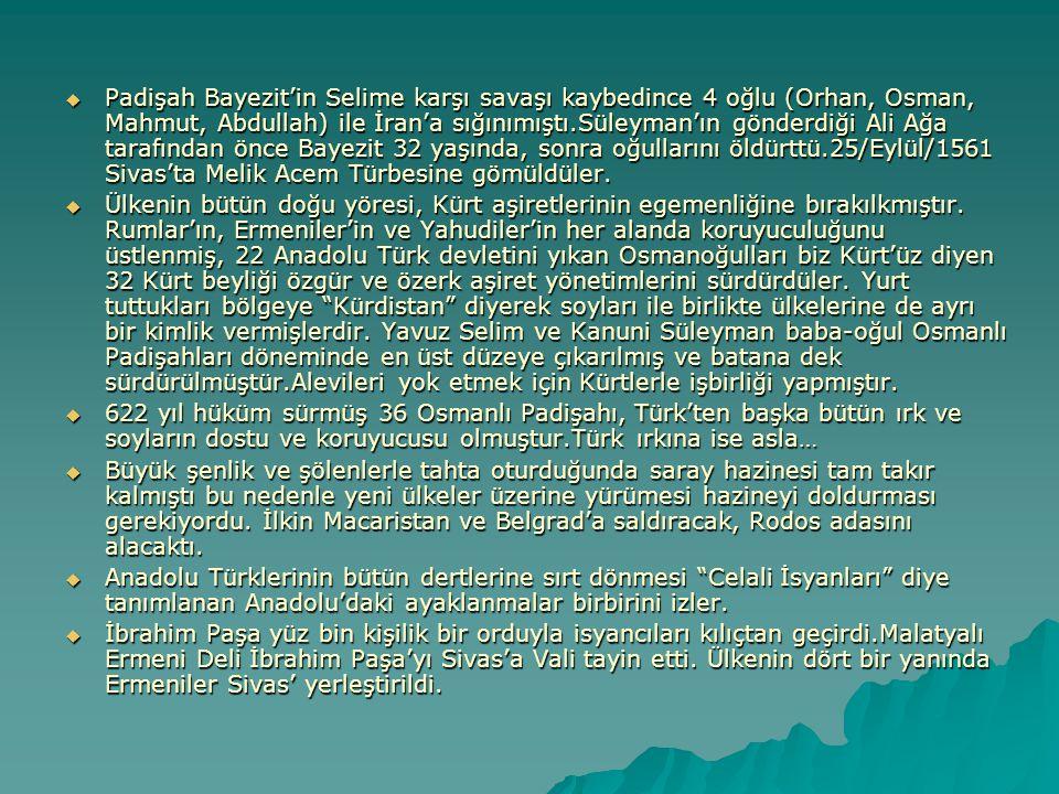 Padişah Bayezit'in Selime karşı savaşı kaybedince 4 oğlu (Orhan, Osman, Mahmut, Abdullah) ile İran'a sığınımıştı.Süleyman'ın gönderdiği Ali Ağa tara