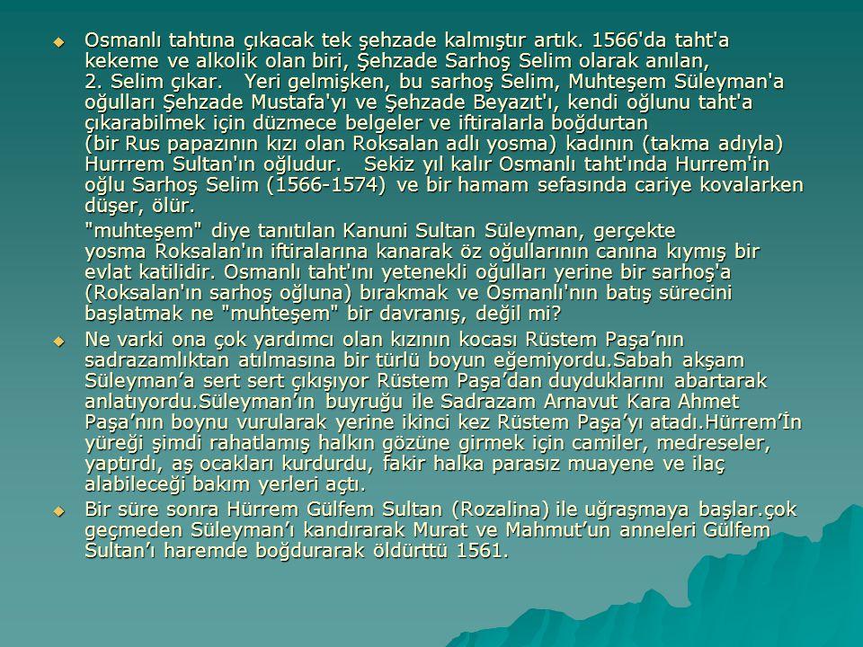  Osmanlı tahtına çıkacak tek şehzade kalmıştır artık. 1566'da taht'a kekeme ve alkolik olan biri, Şehzade Sarhoş Selim olarak anılan, 2. Selim çıkar.