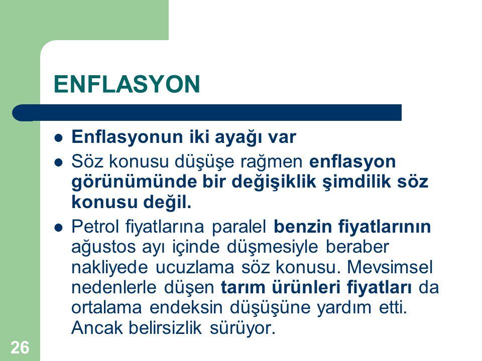 26 ENFLASYON  Enflasyonun iki ayağı var  Söz konusu düşüşe rağmen enflasyon görünümünde bir değişiklik şimdilik söz konusu değil.  Petrol fiyatları